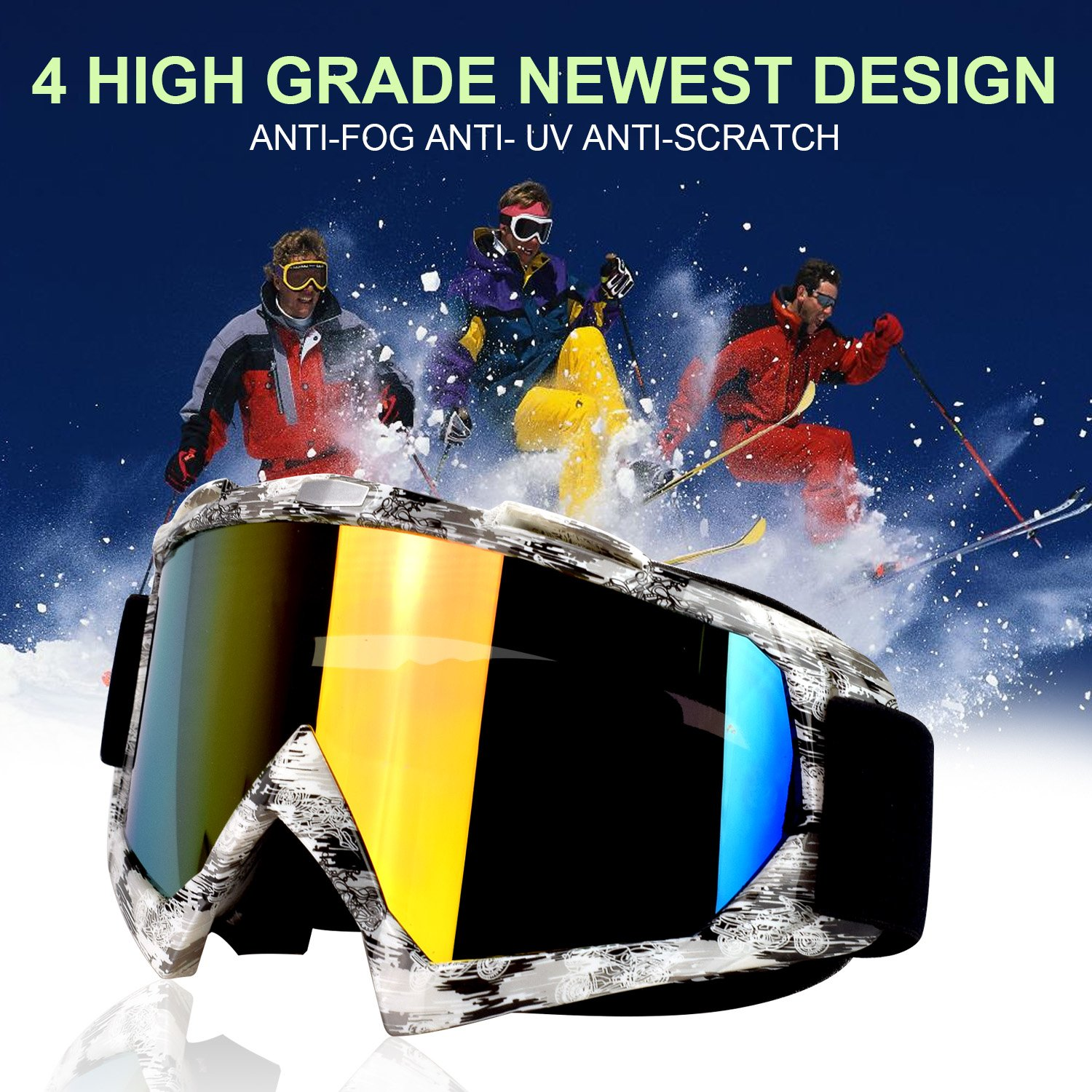 57168d696e79 Amazon.com  Carperipher Ski Goggles Snowboard Goggles Motorcycle Goggles  UV400 Protection Motorbike Motocross Dirt Bike Cycling ATV Racing Safety  Goggles  ...