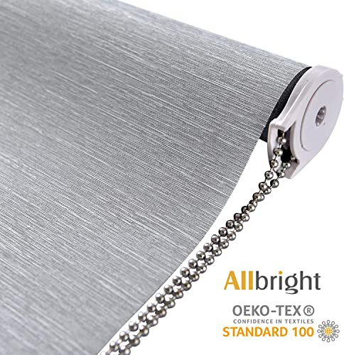 ALLBRIGHT Thermal Insulated Fabric 100 Blackout UV Protection Striped Jacquard Roller Shades for Windows,Easy to Install Gray, 35