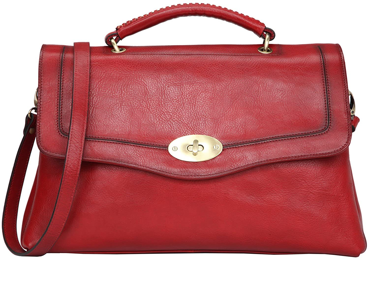 036d1233e8 Banuce Vintage Full Grains Italian Leather Handbags for Women Shoulder  Messenger Bag Ladies Tote Bag Purse Red  Handbags  Amazon.com