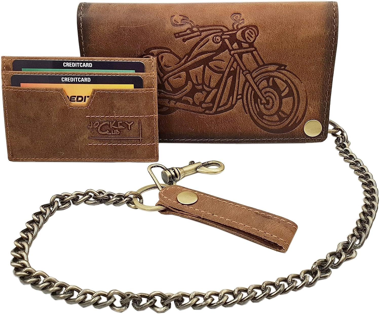 Cuir de Buffle Motard Porte-Monnaie avec cha/îne en m/étal et Amovible Porte-Cartes avec Moto Motif avec Blocage RFID et NFC Marron