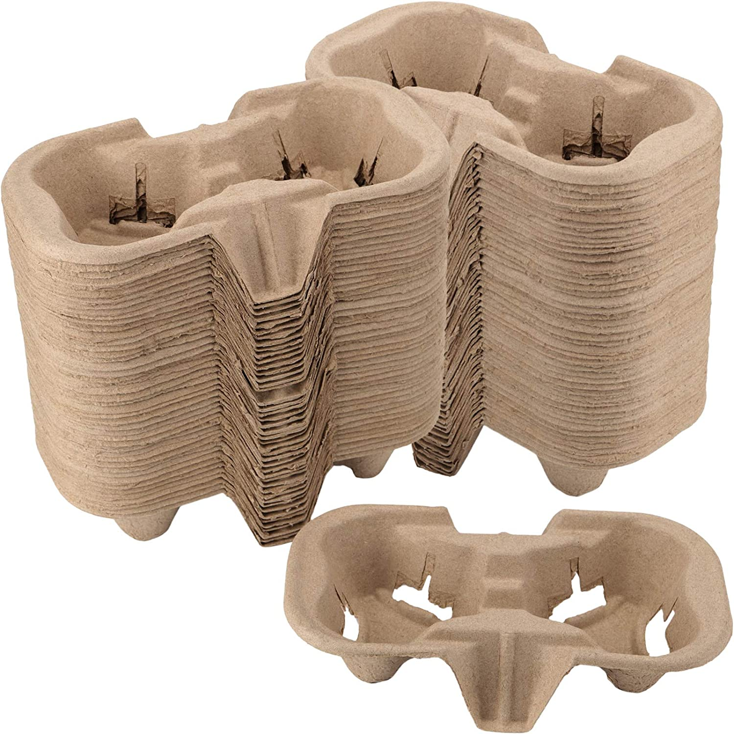 FAATCOI 2 Cup Drink Carrier, Pulp Fiber Biodegradable Disposable Take-Out Cup Carriers Holders for Coffee Hot Cold Drinks Beverages, 100 Pack