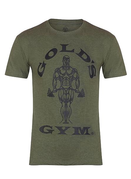Golds Gym – Camiseta para Hombre Entrenamiento Camiseta Muscle Joe Militar Large