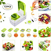 Vegetable Slicers - 13 in 1 Multi-Function Food Cutter with Container, Vegetable Chopper, Cheese Cutter and Lemon Squeezer with 7 Interchangable Stainless Steel Blades for Cut Potato/Tomato/Carrot