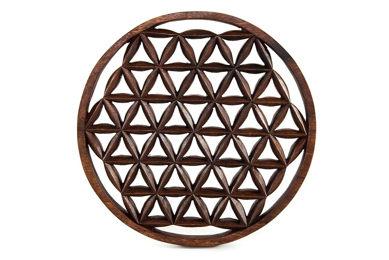 Windalf Bohemia Deko Holzbild ALÌA Ø 29 cm Die Blume des Lebens Wanddeko Handarbeit aus Holz