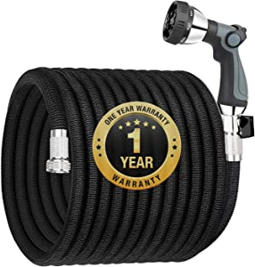 "Garden Hose Expandable 25FT, Flexible Water Hose with Powerful Nozzle Spray, Car Wash Hose with Good Pressure, Expanding hose with 3/4"" Brass Connector, No Kink, No Leak, Easy for Mobility and Storage"