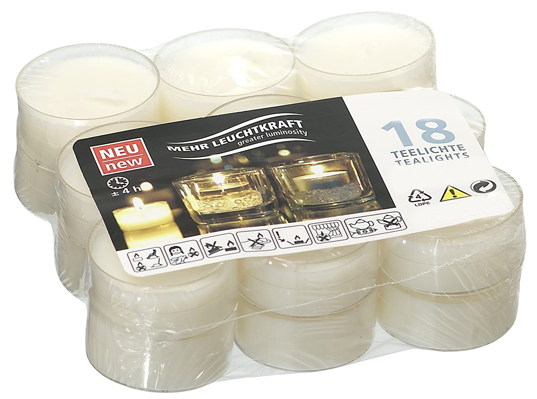 Smart Planet® Bougies Ambiance–Lot de 18Flat Pack Bougies chauffe-plat en blanc–Thé Lumière dans pochette transparente–Bougie à longue durée de combustion