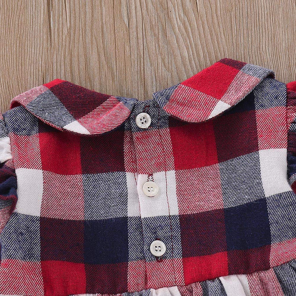 KONFA Toddler Newborn Baby Girls Loose Plaid Dress,for 3-24 Months,Little Princess Long Sleeve Skirt Clothes
