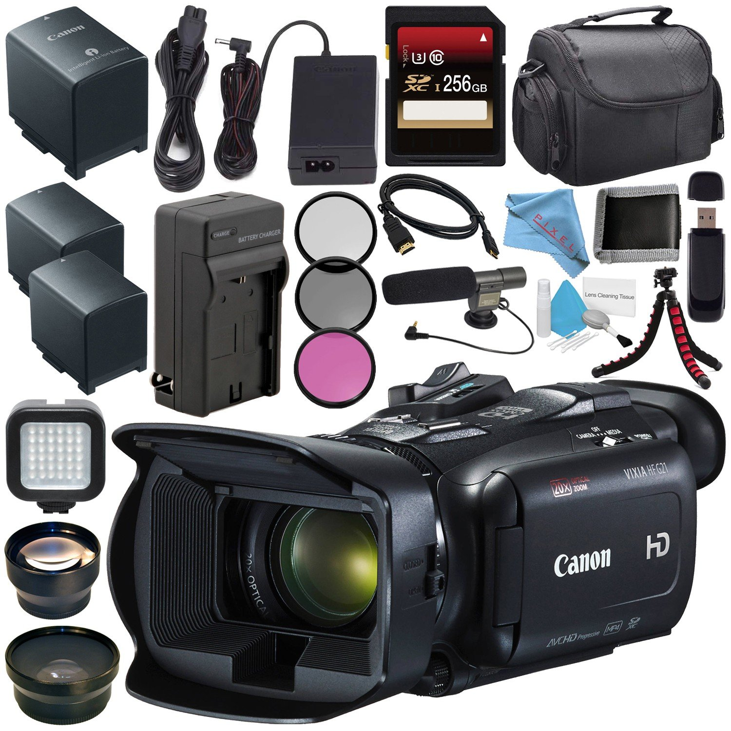 Canon VIXIA HF G21 HFG21 Full HD Camcorder 2404C002 + Lithium Ion Battery Pack + External Rapid Charger + 256GB SDXC Card + 58mm Wide Angle Lens + 58mm 2X Telephoto Lens + Card Reader Bundle