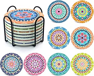 Naipusun Set of 8 Coaster for Drinks Mandala Style with Cork Backing for Holiday Party,Birthday Gift,Absorbing Ceramic Stone Coasters with Holder,Kitchen Bar Decor House,Warming Presents for New Home