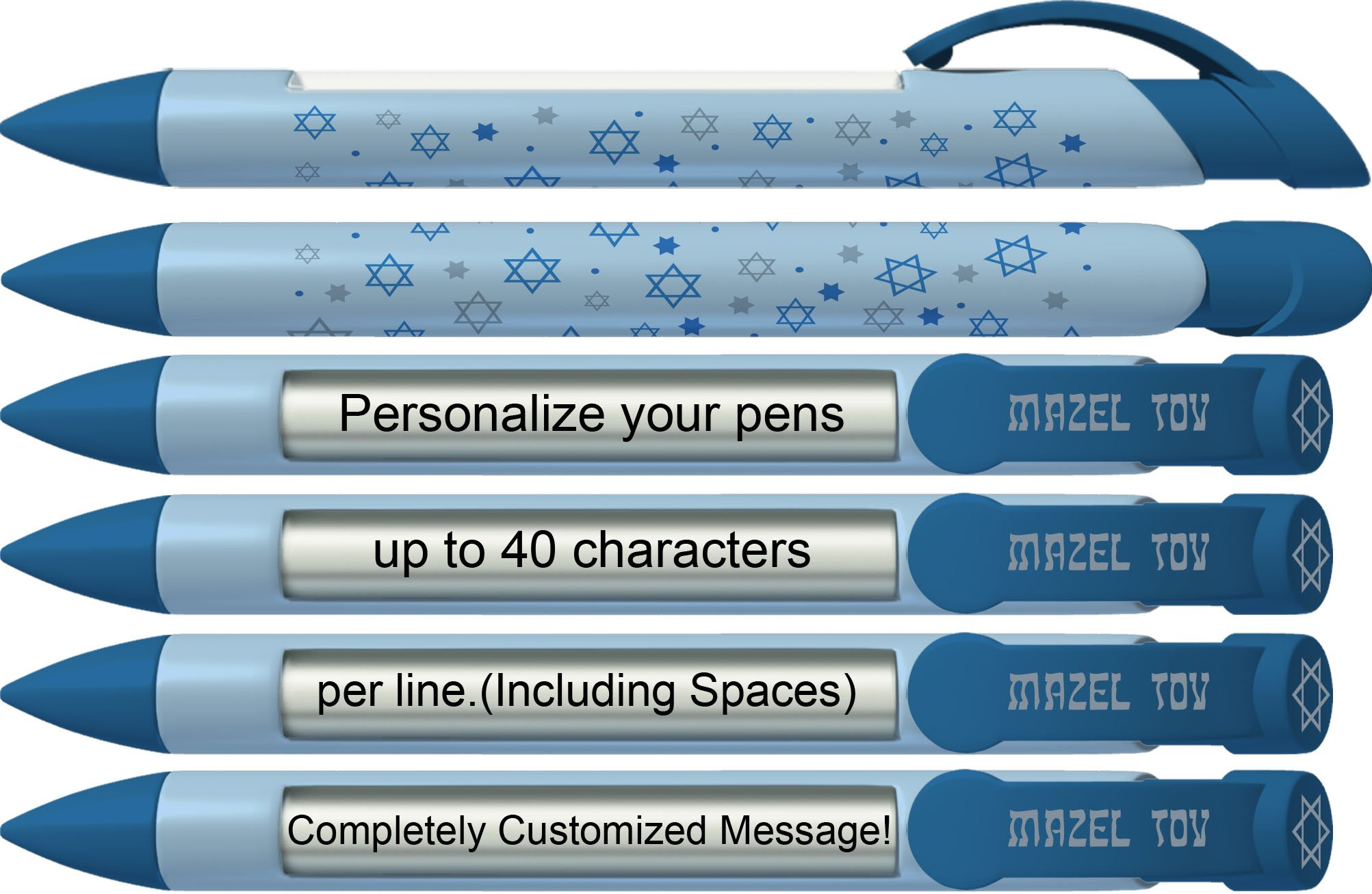 Mitzvah Pen by Greeting Pen- Personalized Mazel Tov Stars Blue Rotating Message Pen -50 pack- P-MP-309-50