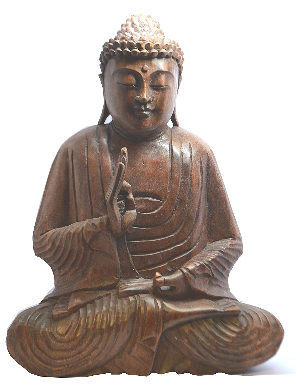 Brown 10 x 25 x 30 cm Wood Mystery Mountain Fair Trade Wooden Hand Carved Seated Meditation Buddha Statue