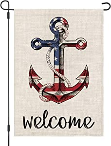 LOYOKI Welcome Anchor USA Stars and Stripes House Garden Flag Burlap Double Sided Yard Outdoor Decoration 12.5 x 18 Inch