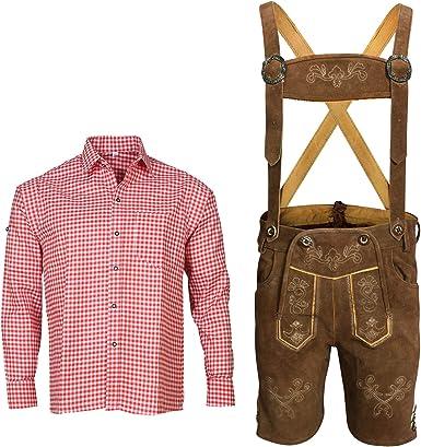 Traje tradicional bávaro de piel con tirantes y camisa para traje regional bávaro Oktoberfest (pantalones + camisa) BKR01