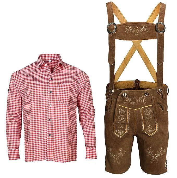 Trachtenset Herren Trachtenlederhose mit Tracht Träger Hemd