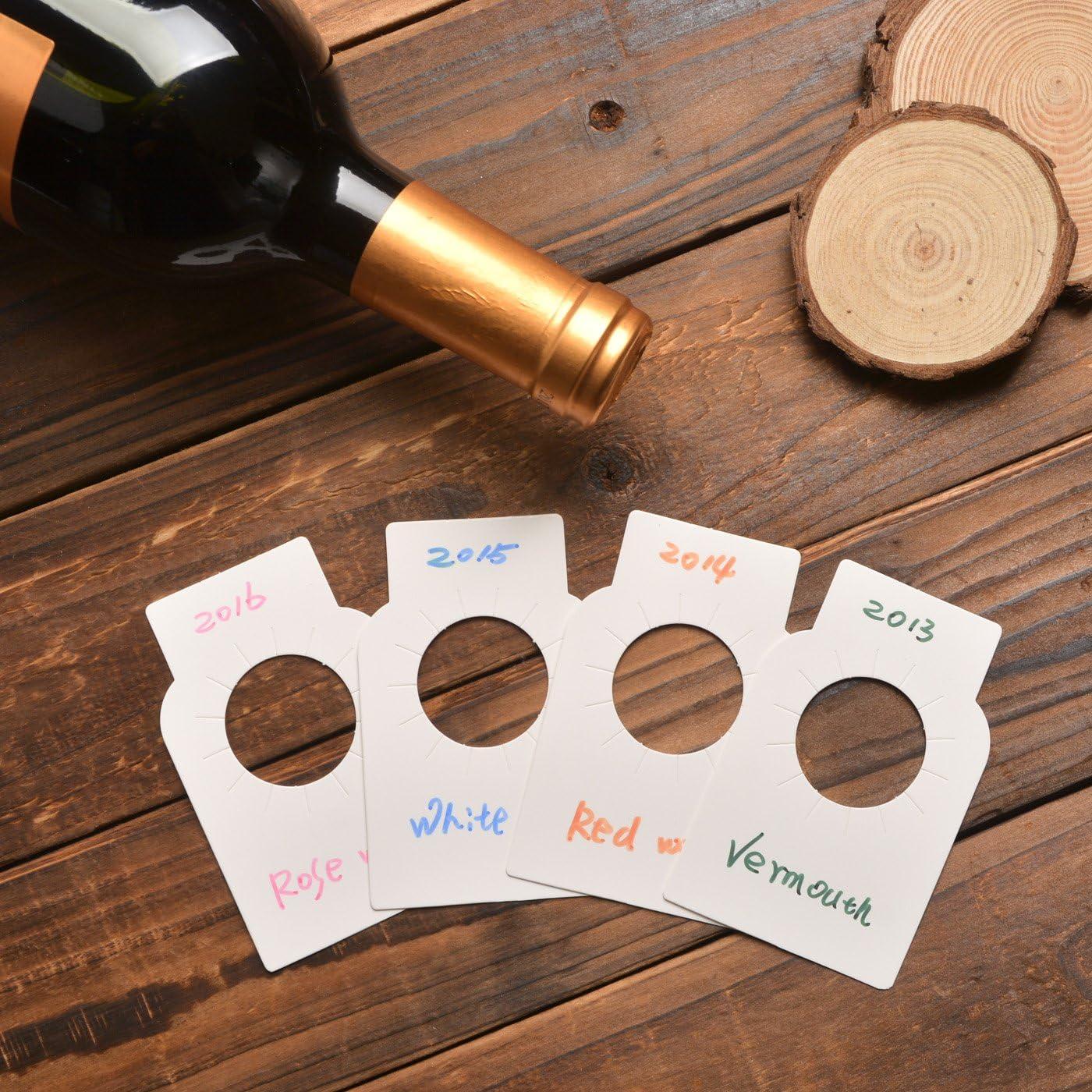 NOVSIX Etiquetas de la Botella de Vino de Papel Blanco - 200 Etiquetas de Vino de la Bodega de Papel Liso