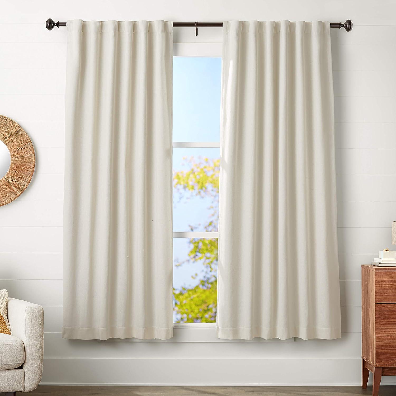 AmazonBasics 1.25-Inch Curtain Rod with Knob Finials - 72 to 144 Inch, Espresso (Dark Bronze)