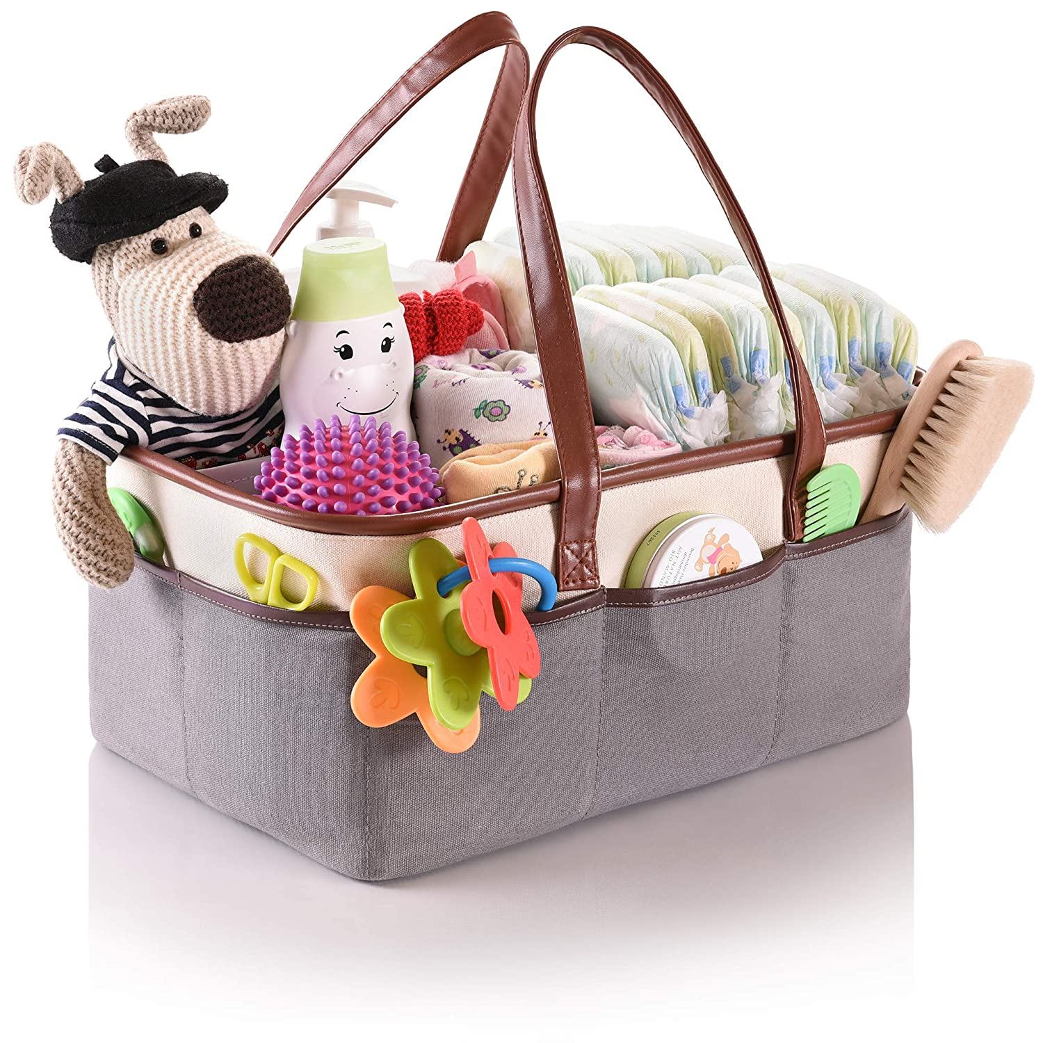 Baby Diaper Caddy Organizer by Oranzer - Your Neatly Organized Nursery Storage Basket for Changing Table, Car, Outdoors - Large Portable Diaper, Wipes Holder - Girl Boy Gift for Newborn Registry Orenzer