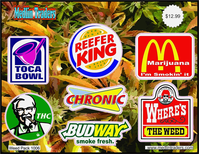 Amazon com medlin traders 420 lot pack of stickers decals weed pot marijuana stoner dank weed pack 1006 automotive