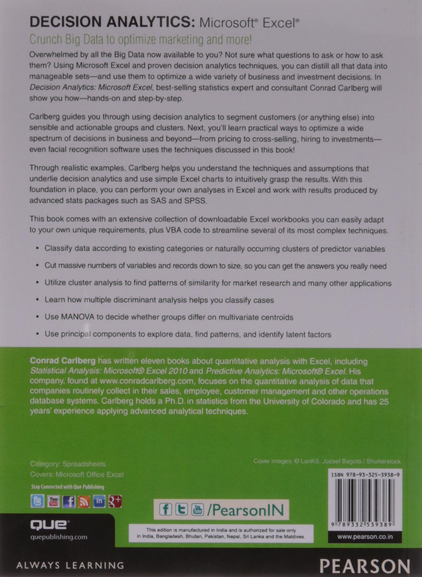 Decision Analytics: Microsoft Excel 1/e: Conrad Carlberg