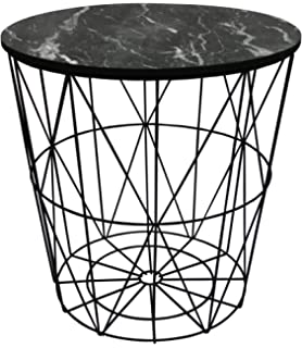 Black metal wire basket wooden top side table amazon metal wire small bedside occasional lamp table with lift off marble design lid greentooth Image collections