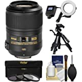 Nikon 85mm f/3.5 G VR AF-S DX ED Micro-Nikkor Lens + Macro Ring Light & Tripod + 3 Filters Kit for D3200, D3300, D5300, D5500, D7100, D7200, D500, D750, D810 Cameras