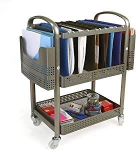Mind Reader Heavy Duty Metal Mobile File Cart, Silver, MFILEC