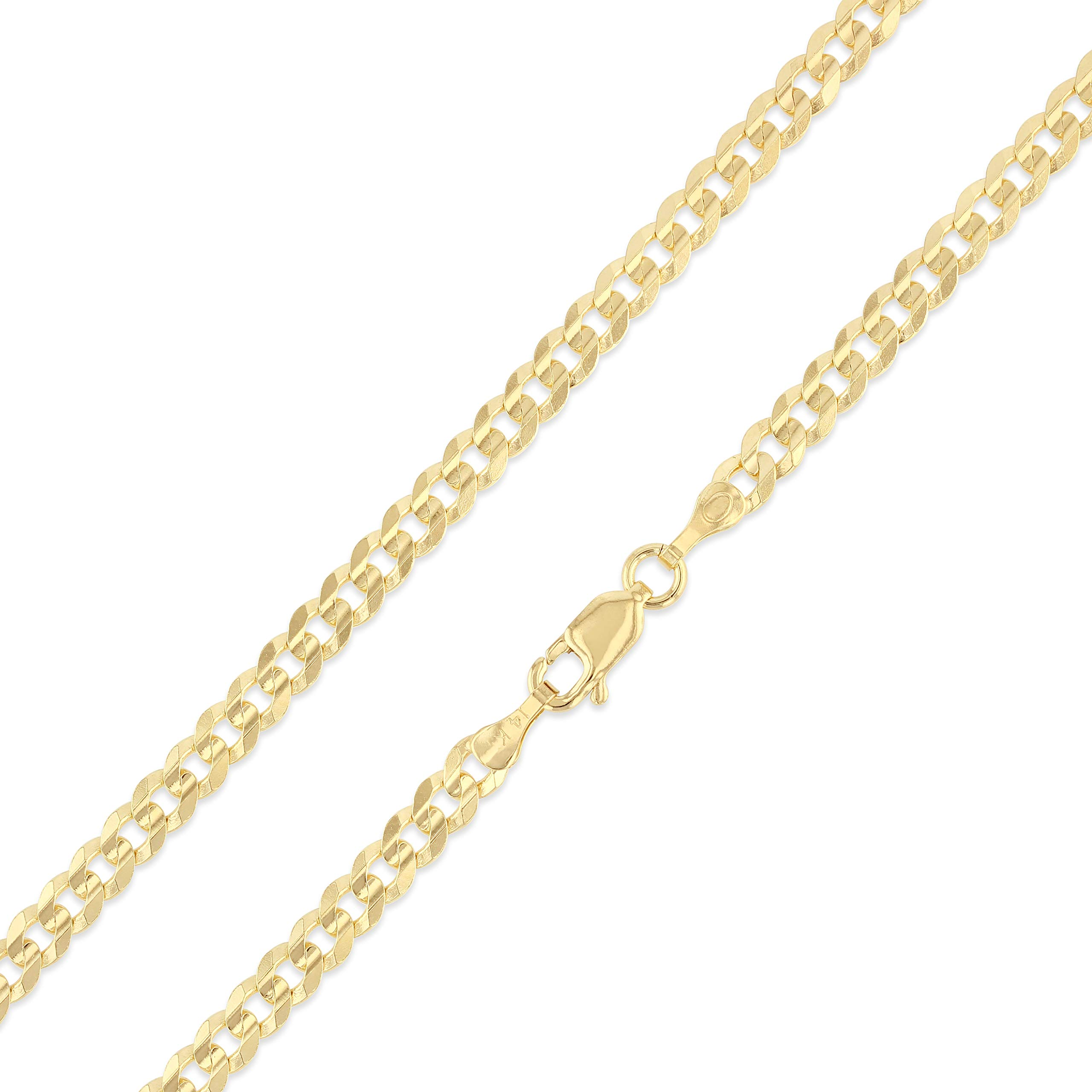 Ioka - 14K Yellow Solid Gold 4mm Cuban Concave Chain Necklace with Lobster Clasp - 20''