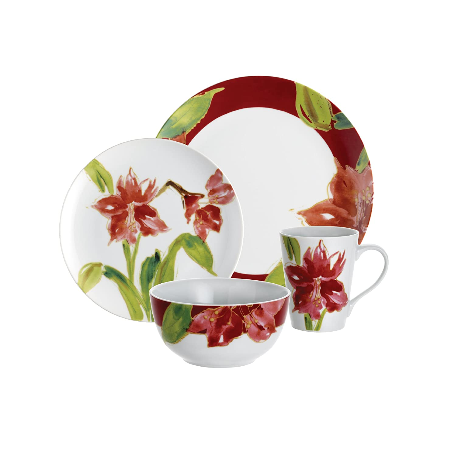 Amazon.com | Paula Deen Signature Dinnerware Amaryllis Holiday 16-Piece Dinnerware Set Christmas China Dinnerware Sets  sc 1 st  Amazon.com & Amazon.com | Paula Deen Signature Dinnerware Amaryllis Holiday 16 ...