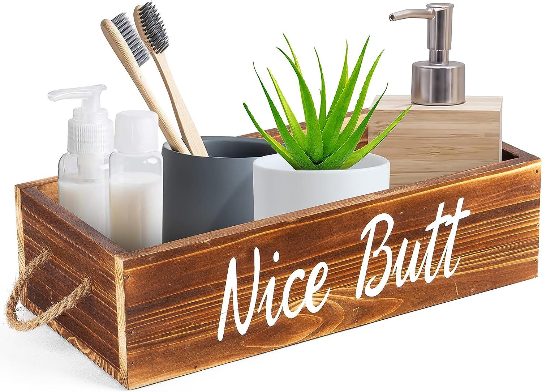 Hello Sweet Cheeks Bathroom Decor Box - 2 Sided Funny Toilet Paper Box Holder - Perfect for Farmhouse Bathroom Decor - Back of Toilet Organizer - Rustic Home Decor - Bathroom Decor Box Toilet (Brown)