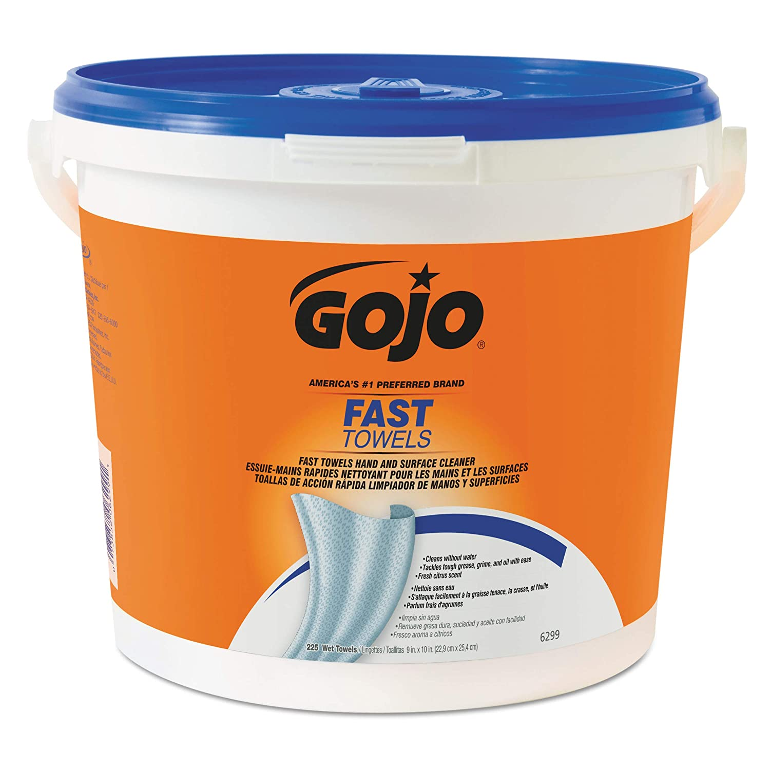 GOJO FAST TOWELS Fresh Citrus Scent 225 Count Large Multi Purpose Single Textured Wet Towel Bucket Pack of 2 6299 02