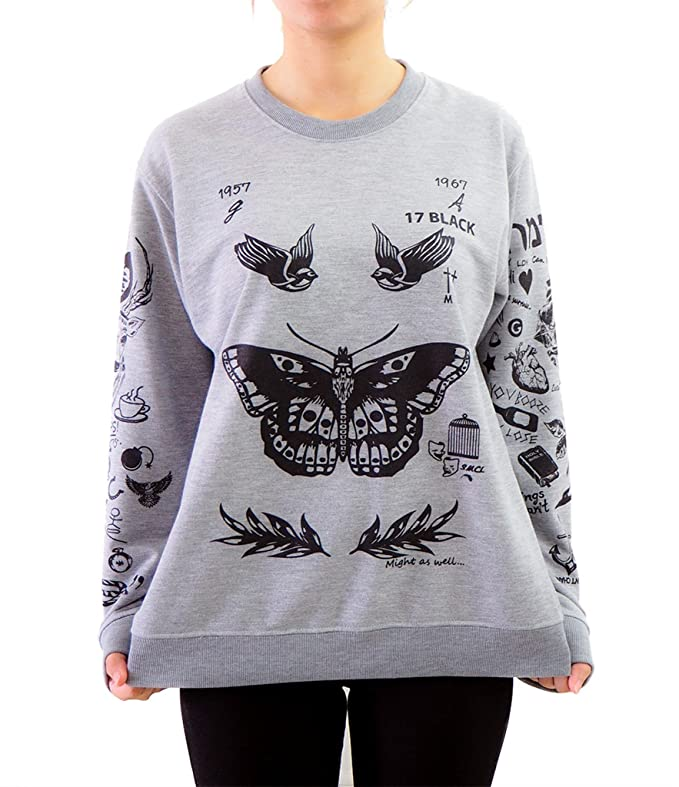 Noonew Larry Stylinson Tattoos Sweatshirt Small Grey Shirt at Amazon Womens Clothing store: