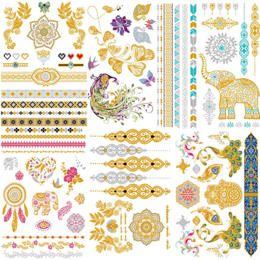 Creamily Premium Metallic Tattoos Gold Silver and Multi-Colored Temporary Fake Jewelry Tattoos Glitter for Women and Girls (6 Sheets)
