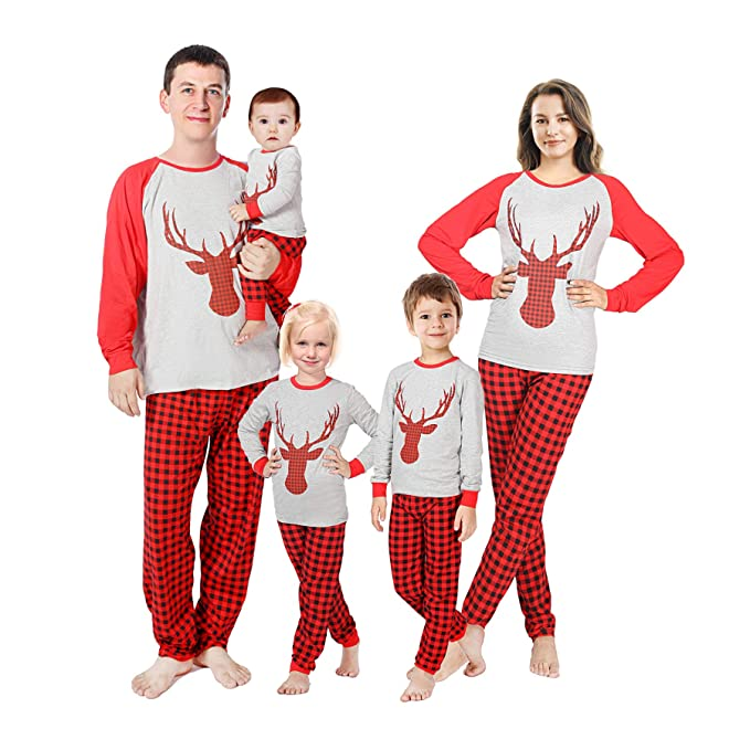 reindeer family matching christmas pajamas sleepwear set