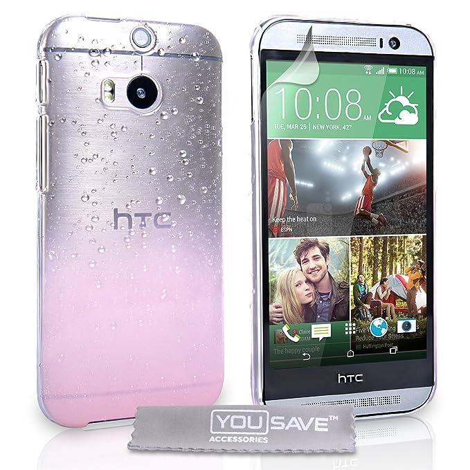 Yousave Accessories® - Carcasa para HTC One M8 (modelo de 2014), diseño de gotas de lluvia, transparente y color rosa claro