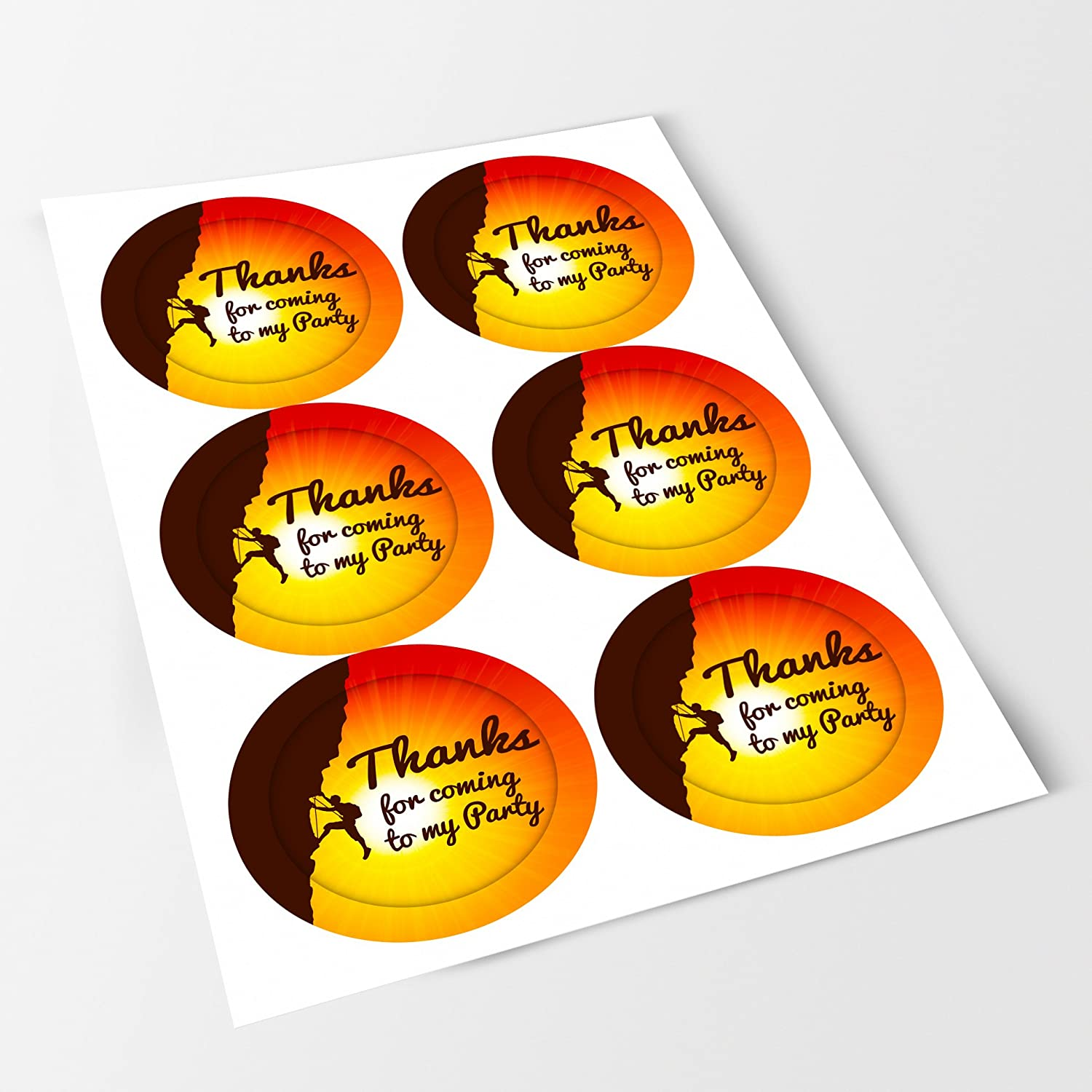 Crafts Favours Rock Climbing Sticker Labels NON PERSONALISED Seals Ideal for Party Bags Sweet Cones Bottles Presentations Gift Boxes Jars