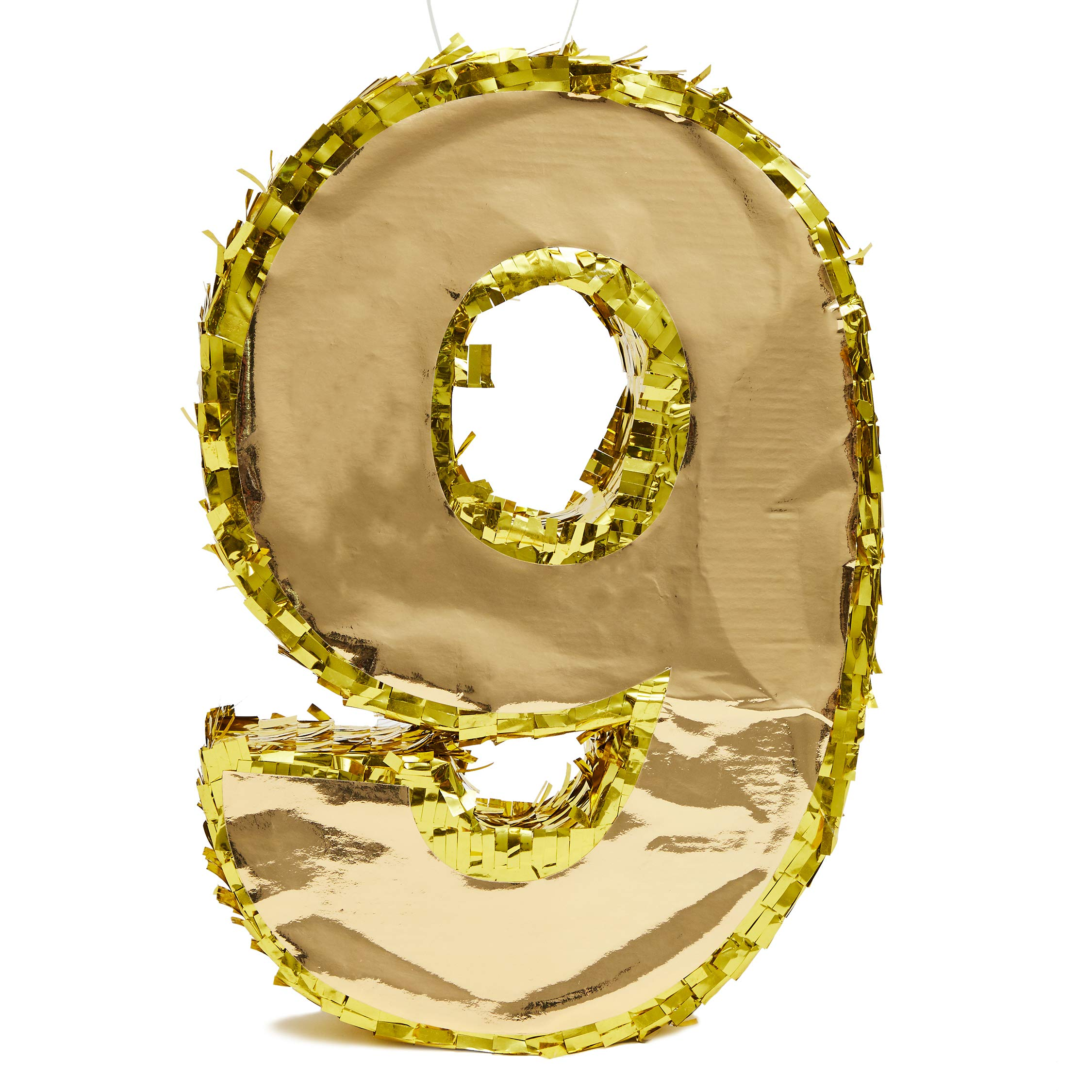 Juvale Small Number 9 Gold Foil Pinata, Ninth Birthday Party Supplies, 15.5 x 11 x 3 Inches by Juvale