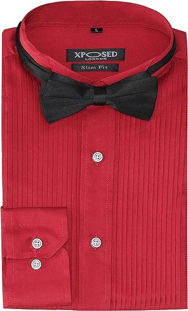 Xposed Camisa de esmoquin para hombre con lazo de corte entallado, cuello de ala frontal, para boda, baile de graduación
