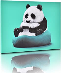 Canvas Wall Art for Bedroom Teen Boy and Girls,Wall Decor for Living Room, Cute Panda Sit on The Bean Bag with a Mobile Phone ,Already Framed Canvas Art for Home Decor,16x12''