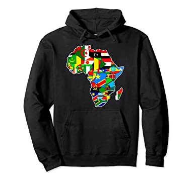 Amazon.com: African pride African countries flag Africa map hoodie ...