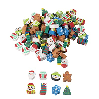Christmas Party Favors - 100-Pack Mini Eraser for Kids, Stocking Stuffer, Carnival Prizes, Classroom Rewards, Goodie Bags, Giveaways, 8 Assorted Holiday Designs: Toys & Games