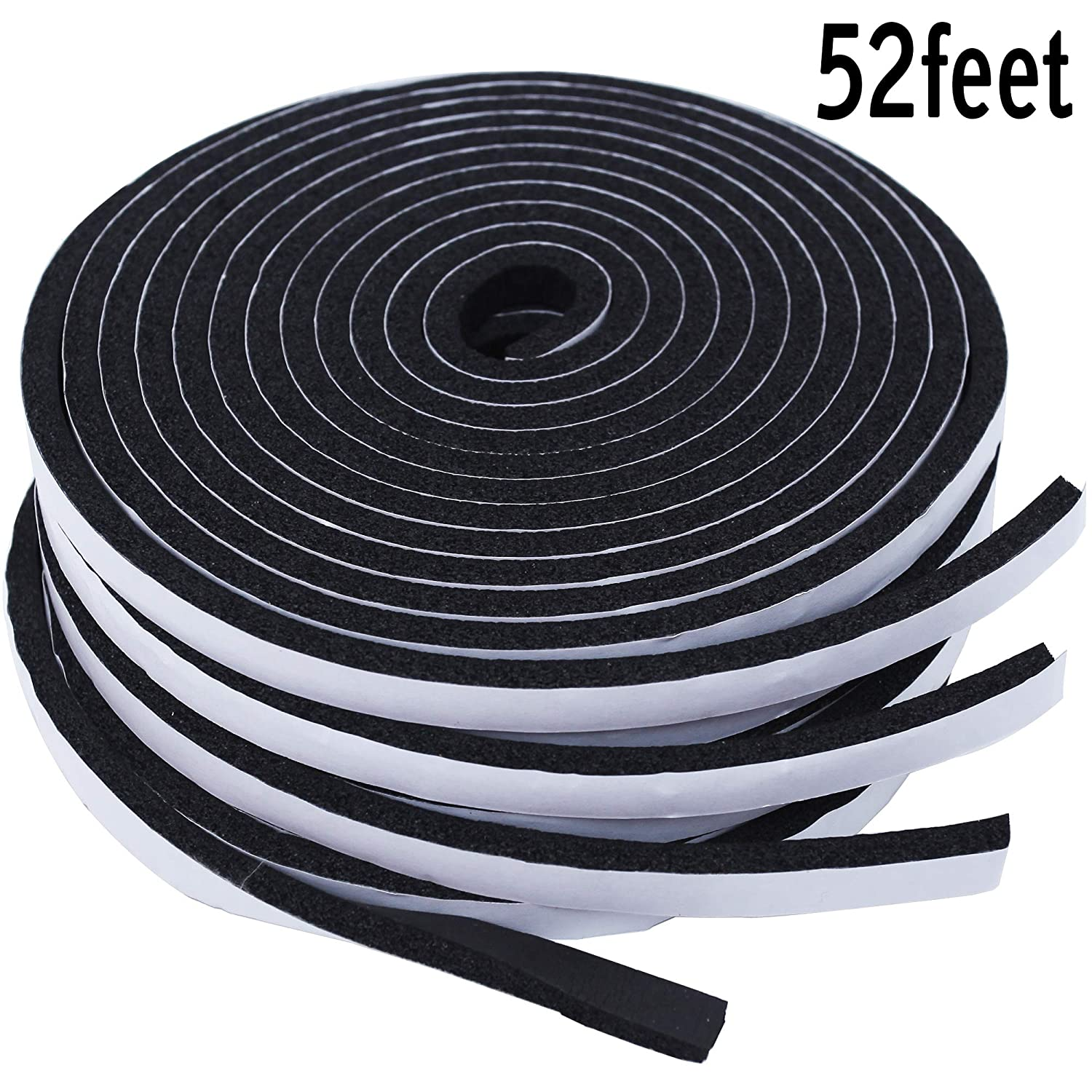 Foam Seal Tape - 52Ft Length High Density Sponge Rubber Strip, Strong Self Adhesive WeatherStrip Insulation Foam 25/64' Width X 15/64' Thick.