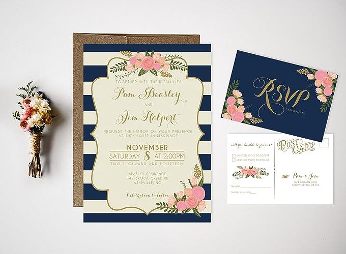 Amazon.com: Vintage Floral Nautical Invites Wedding Invitation Set ...