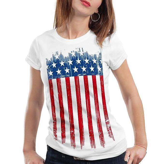 style3 USA Pabellón Nacional Camiseta para mujer T-Shirt bandera estados unidos us stars stripes: Amazon.es: Ropa y accesorios