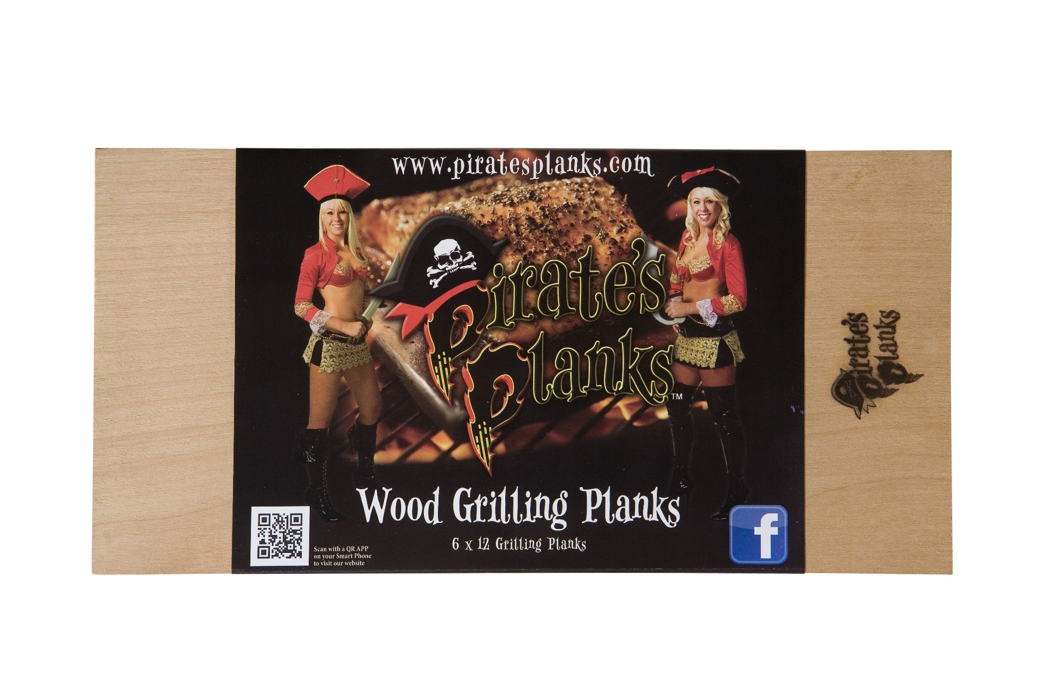 Pirate's Planks Assorted Grilling Planks- (1 each Alder, Cedar, Hickory, Oak, Cherry, Maple) 3/8x6x12 by Pirates Planks