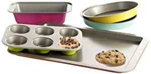 Gibson Home 92286.05 ColorSplash Lyneham 5 Piece Carbon Steel Bakeware Set, Gray
