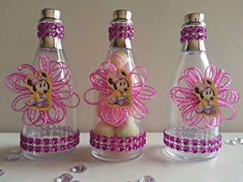 12 Minnie Mouse Fillable Champagne Bottles Baby Shower Favor Its a girl Birthday