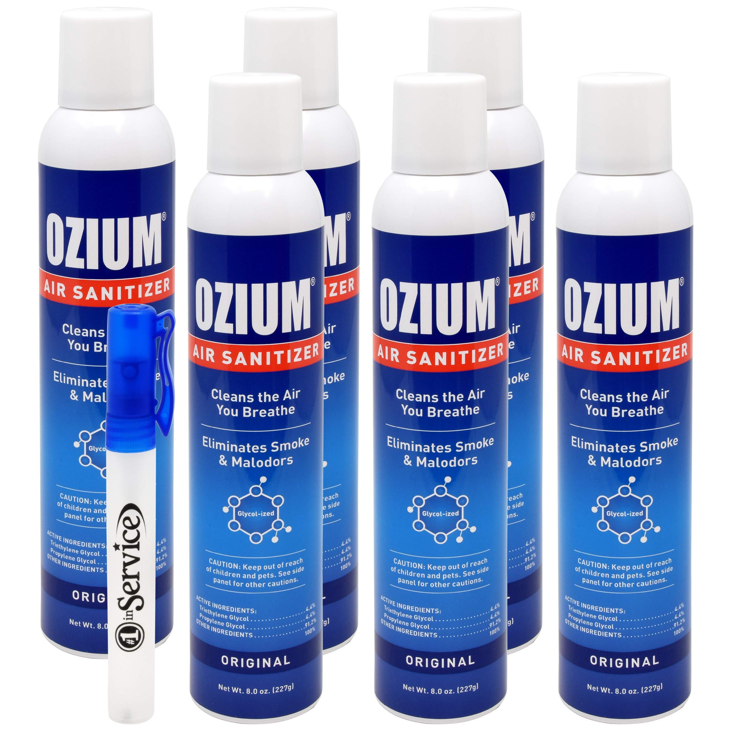 Ozium Air Sanitizer Reduces Airborne Bacteria Eliminates Smoke & Malodors 8oz Spray Air Freshener, Original (6 Pack) Hand Sanitizer Included