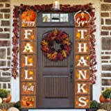 Jocacti Fall Decorations, Fall Banner Happy Fall Y'all Give Thanks Porch Sign Thanksgiving Hanging Flag Autumn Party…
