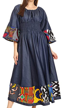 en vente en ligne pas cher dernière collection Sakkas Abayomi Cire Africaine Ankara Chambray Paysanne médiévale  Occasionnelle Longue Robe