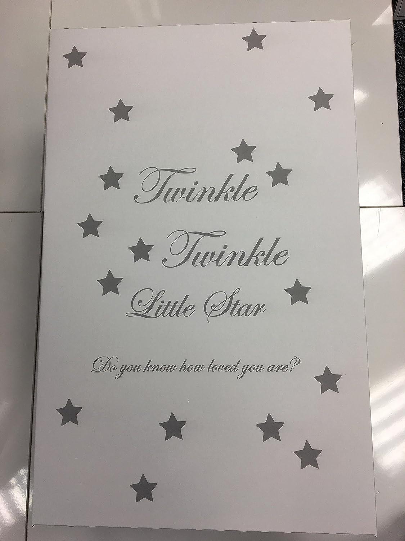 Schöne Unisex Twinkle Twinkle Little Star grau & weiß Baby Box – inklusive Bambus Matratze - Baumwolle Spannbetttuch